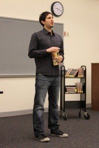Matt de la Peña visits Hall High School in West Hartford, CT, on Dec. 7.
