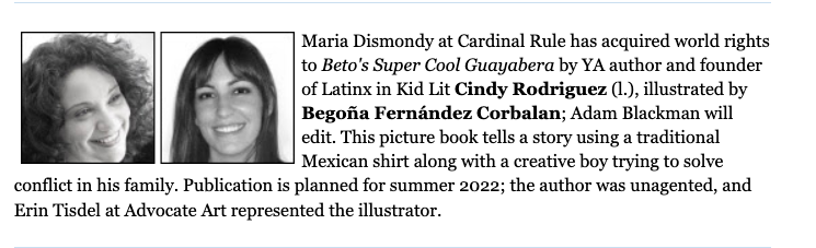 Announcement about the sale of Beto's Super Cool Guayabera to Cardinal Rule Press.